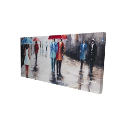 Canvas 24 x 48 - 3D - People with umbrellas in the street
