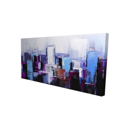 Canvas 24 x 48 - 3D - Abstract blue & purple city