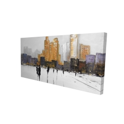 Canvas 24 x 48 - 3D - Silhouettes walking towards the city