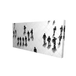 Canvas 24 x 48 - 3D - Overhead view of people on the street