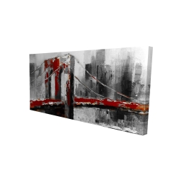 Canvas 24 x 48 - 3D - Abstract and red brooklyn bridge