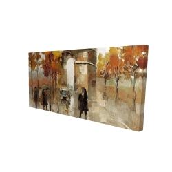 Canvas 24 x 48 - 3D - Arc de triomphe in autumn