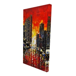 Canvas 24 x 48 - 3D - Abstract sunset on the city
