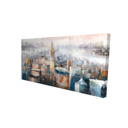 Canvas 24 x 48 - 3D - Cityscape of new york with the chrysler building