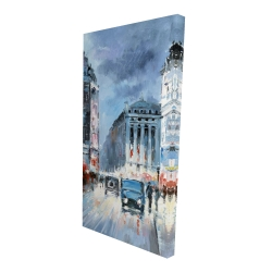 Canvas 24 x 48 - 3D - Abstract red and blue city