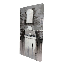 Canvas 24 x 48 - 3D - Gray building with passersby