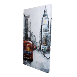 Canvas 24 x 48 - 3D - Abstract london and red bus