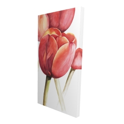 Canvas 24 x 48 - 3D - Blossoming tulips closeup