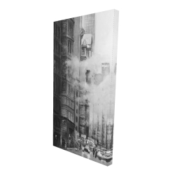 Canvas 24 x 48 - 3D - Morning in the streets of new-york city monochrome
