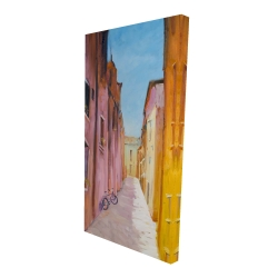Canvas 24 x 48 - 3D - Colorful houses in the streets of collioure