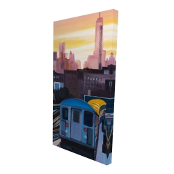Canvas 24 x 48 - 3D - Sunset over the subway in new-york