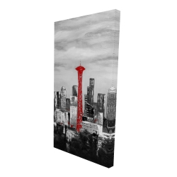 Canvas 24 x 48 - 3D - Space needle in red