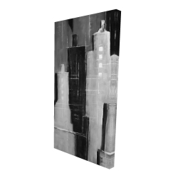 Canvas 24 x 48 - 3D - Abstract black and white cityscape