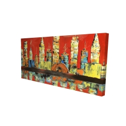 Canvas 24 x 48 - 3D - Red abstract skyline