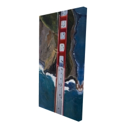 Canvas 24 x 48 - 3D - Overhead view of the golden gate and mountains