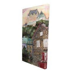 Canvas 24 x 48 - 3D - Château frontenac in the petit champlain