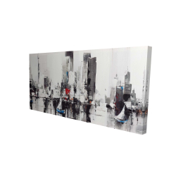 Canvas 24 x 48 - 3D - Abstract boats with cityscape