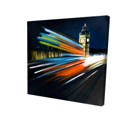 Canvas 24 x 24 - 3D - London bus with long exposure