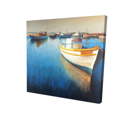 Canvas 24 x 24 - 3D - Fishing boats at the marina