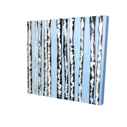 Canvas 24 x 24 - 3D - Birches on a blue background