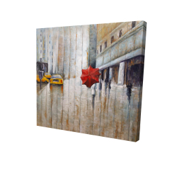 Canvas 24 x 24 - 3D - Red umbrella in the street