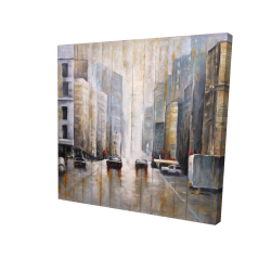 Canvas 24 x 24 - 3D - Cars in the morning rain