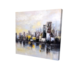 Canvas 24 x 24 - 3D - Abstract city in the morning