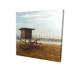 Canvas 24 x 24 - 3D - Newport beach lifeguard tower