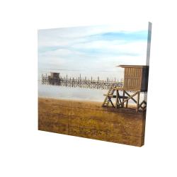 Canvas 24 x 24 - 3D - Lifeguard tower at the beach