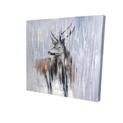 Canvas 24 x 24 - 3D - Deer in the forest by a rainy day