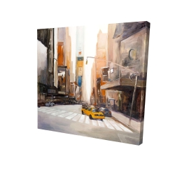 Canvas 36 x 36 - 3D - Calm street with taxi