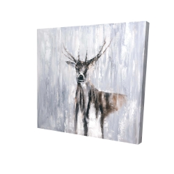 Canvas 24 x 24 - 3D - Winter abstract deer