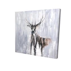 Canvas 24 x 24 - 3D - Winter abstract deer