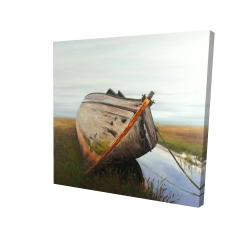 Canvas 24 x 24 - 3D - Old abandoned boat in a swamp