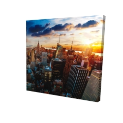 Canvas 24 x 24 - 3D - City of new york by dawn