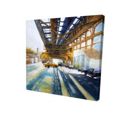 Canvas 24 x 24 - 3D - Cars under the bridge
