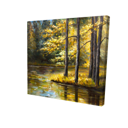Canvas 24 x 24 - 3D - Fall landscape by the water