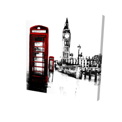 Canvas 24 x 24 - 3D - Telephone box and big ben of london