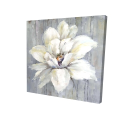 Canvas 24 x 24 - 3D - White flower on wood