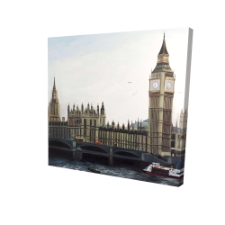 Canvas 24 x 24 - 3D - Big ben clock elizabeth tower in london