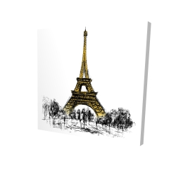 Canvas 24 x 24 - 3D - Outline of eiffel tour