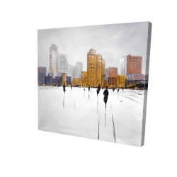 Canvas 24 x 24 - 3D - City on the horizon