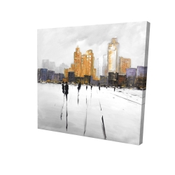 Canvas 24 x 24 - 3D - Silhouettes walking towards the city