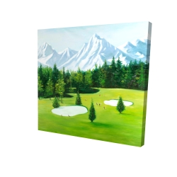 Canvas 24 x 24 - 3D - Golf course with mountains view