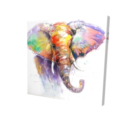 Canvas 24 x 24 - 3D - Beautiful and colorful elephant