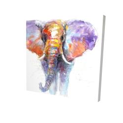 Canvas 24 x 24 - 3D - Colorful walking elephant