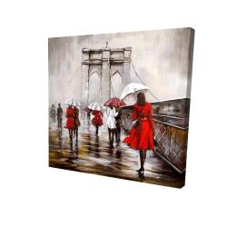 Canvas 24 x 24 - 3D - Walk on the brooklyn bridge