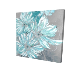 Canvas 24 x 24 - 3D - Three little abstract blue flowers