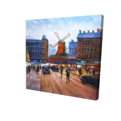 Canvas 24 x 24 - 3D - Street scene to moulin rouge