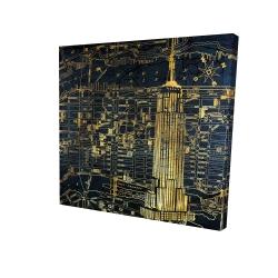 Canvas 24 x 24 - 3D - Gold city blue print
